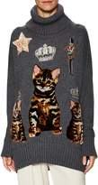 Dolce & Gabbana Women's Embroidered Cat Turtleneck