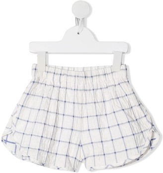 Raspberry Plum Ama checked wide-leg shorts