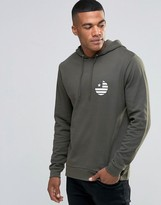Asos Hoodie With Flag Chest Print In Khaki