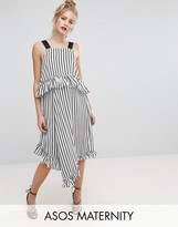 Asos Midi Dress With Ruffle Detail And Grosgrain Straps In Mono Stripe