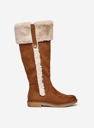 Dorothy Perkins Womens Tan 'Terri Fur' Trimmed Long Boots