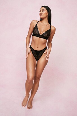 Nasty Gal Womens Lace Your Time Triangle Bralette and Knickers Set - Black - XS, Black