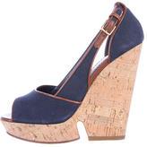 Saint Laurent Cork Wedge Sandals