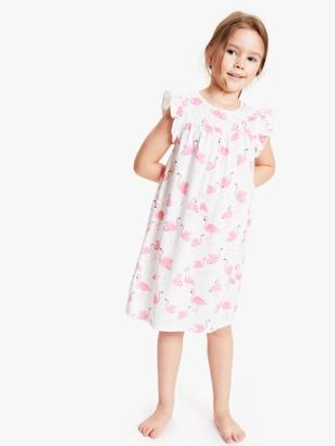 John Lewis & Partners Girls' Flamingo Night Dress, White/Pink