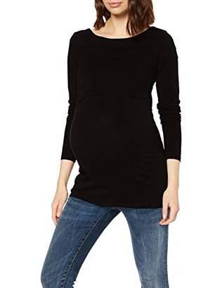 Noppies Women's Tee nurs ls Dane Maternity Long Sleeve Top, (Black C270), (Size : X)