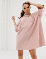 Asos Design DESIGN oversized t-shirt dress in dusty pink