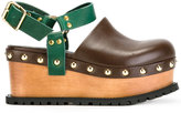 Sacai studded clog sandals - women - Leather/Metal (Other)/rubber - 36