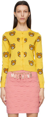 Moschino Yellow Maxi Allover Teddy Cardigan