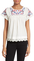 Rebecca Taylor Garden Short Sleeve Embroidered Shirt