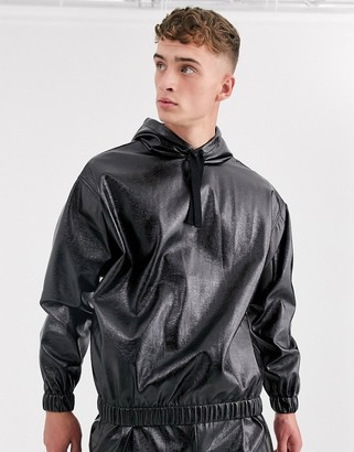 Asos Design DESIGN two-piece oversized hoodie in shiny faux leather-Black