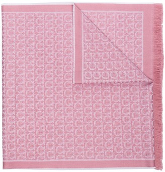 Salvatore Ferragamo Gancini jacquard knitted scarf