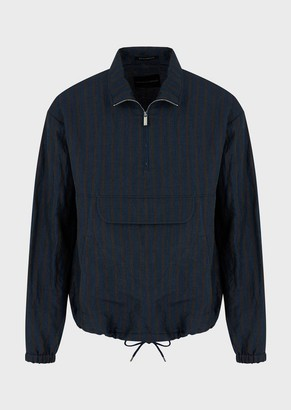 Emporio Armani Washed-Effect Blouson With Oversized Pinstripes In Linen And Silk Blend