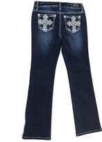 ZCO Dark Blue Cross-Embroided Bootcut Jeans - Girls