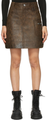 Ganni Brown Leather Washed Miniskirt