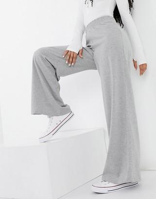 ASOS DESIGN casual jersey wide leg pant in grey marl