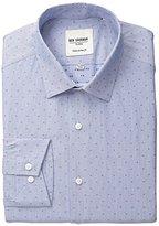Ben Sherman Men's Clip Spot Shirt with Spread Collar, Royal Blue, .969696969697