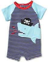Mud Pie Baby Boys Newborn-18 Months Pirate Shark Stripe/Color Block Shortall