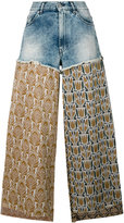 Circus Hotel lurex and denim trousers - women - Cotton/Polyester/Viscose - 29