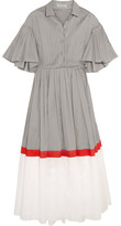 Vika Gazinskaya Pintucked Color-block Cotton-voile Midi Dress - Light gray