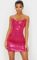 Zero Hot Pink Sequin Bandeau Cup Detail Bodycon Dress