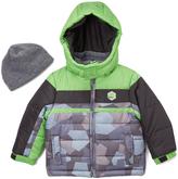 London Fog Green & Color Block Puffer Coat & Beanie - Infant & Toddler