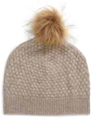 Nordstrom Essential Cashmere Cable Knit Beanie with Faux Fur Pompom