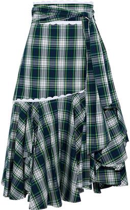 Marissa Webb Halsey Asymmetric Checked Cotton-poplin Midi Skirt