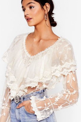 Nasty Gal Womens Lace No More Time Ruffle Embroidered Blouse - White - M