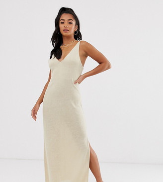 Asos DESIGN Petite jersey knit maxi dress with twist straps-Beige