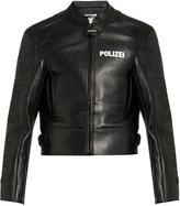 Vetements Polizei-print panelled leather jacket