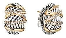 David Yurman Women's Helena 18K Yellow Gold & Diamond Shrimp Clip-On Earrings