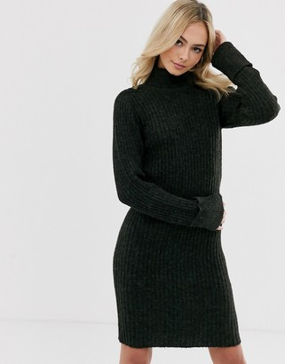 Pieces knitted mini dress in khaki