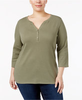 Karen Scott Plus Size Cotton Henley Top, Only at Macy's