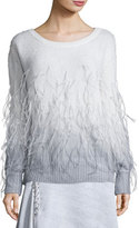 Prabal Gurung Feather Degrade Off-the-Shoulder Sweater, Gray/White