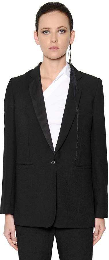 Ann Demeulemeester Single Breasted Wool Crepe Jacket