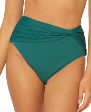 BLEU by Rod Beattie Solid Twisted High-Waist Bikini Bottoms Women's Swimsuit