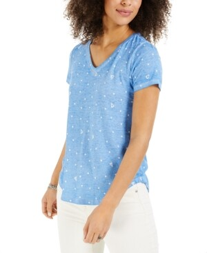 Style&Co. Style & Co Printed Burnout T-Shirt, Created for Macy's