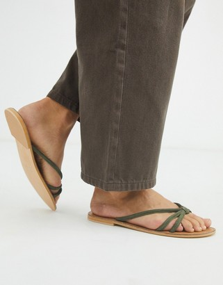 ASOS DESIGN First Class knotted suede toe post sandal in khaki