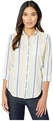 Elliott Lauren Over the Rainbow Placket Front Relaxed Shirt (Multi) Women's Clothing