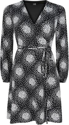Wallis PETITE Black Heart Print Wrap Dress