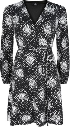 Wallis PETITE Black Heart Print Wrap Dress