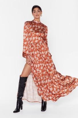 Nasty Gal Womens Flower Grown Wild High Neck Maxi Dress - Orange - 6