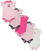 "Luvable Friends Baby Girls' ""Captain's Wheel"" 5-Pack Bodysuits"