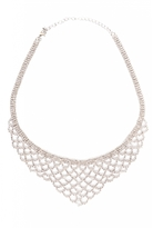 Quiz Silver Diamante Scallop Statement Necklace