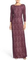 Adrianna Papell Scalloped Lace Gown (Regular & Petite)