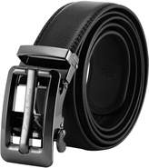K&S KS Men's Dress Leather Belt Vintage Hollow Slide Automatic Buckle KB103