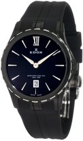 Edox Women's 26024 357N NIN Grand Ocean Black Ion-Plating Case Rubber Watch