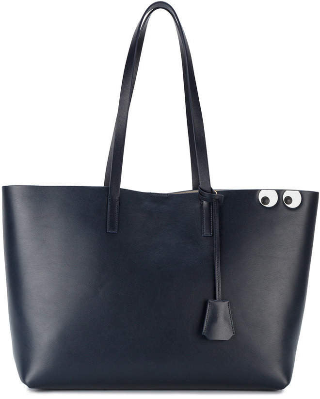 Anya Hindmarch Navy Leather Eye Detail Tote Bag