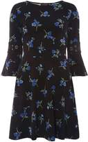 Dorothy Perkins Black Floral Print Fit and Flare Dress