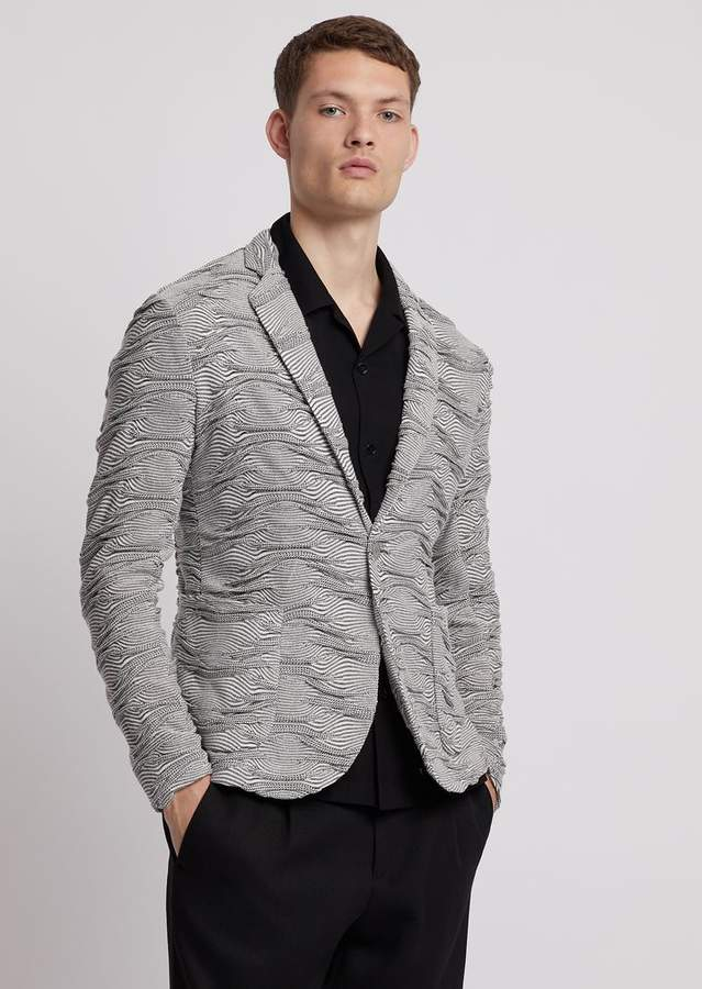 1cf203dbe2 Single-Breasted Jacket In Wave-Motif Jacquard Knit